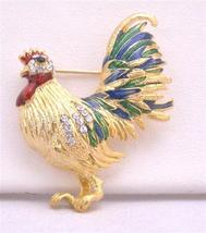 Gold Plated Hen Spread In Beautiful Green Color On Feather Brooch Pin - $8.83