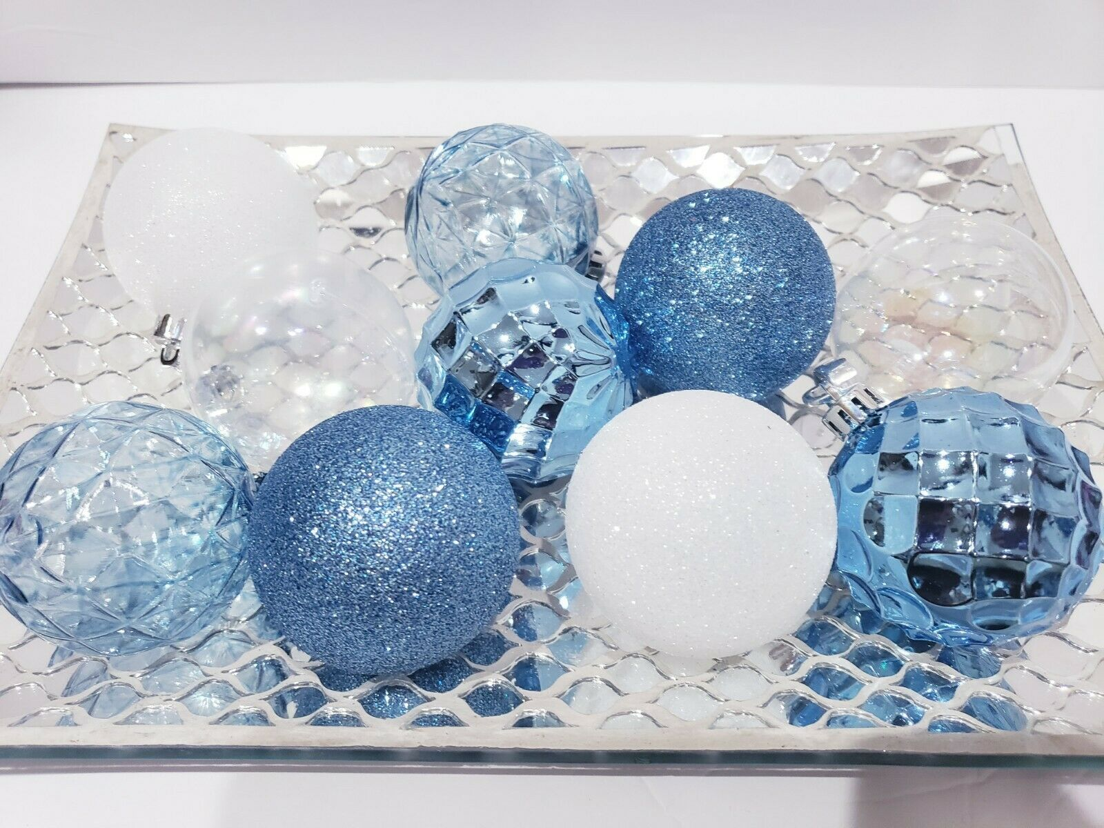 Primary image for 10 Coastal Beach Baby Boy Blue  Christmas Glitter Ball Ornaments 2.5""