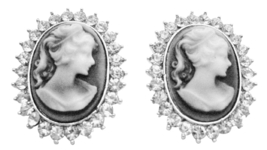 Great Deal On Antique Vintage Cameo Earrings w/ Sparkling Diamante - $15.98