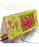 Handmade Heart Card In Hot Pink & Lime Green, Valentine's Day Love Romance  - $3.75