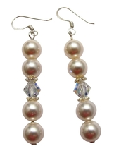 Dainty Flower Girl Bridesmaid Crystals White Pearl Earrings Jewelry - $11.43
