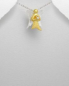 18K Praying Angel w/ Cz & Sterling Wings Necklace
