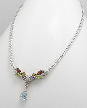 Blue Topaz Teardrop & Multi Gemstone Necklace - £38.18 GBP
