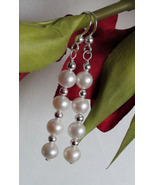 Four Pearl & Sterling Silver Bead Dangle Earrings Wedding - $11.65