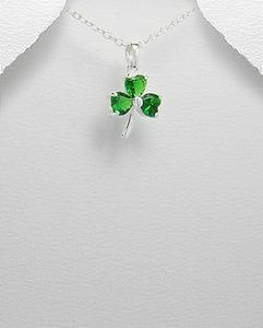 Lucky Charm Green CZ Clover Necklace Sterling Silver