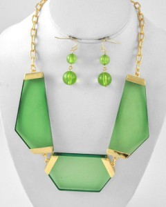Modern Gold Tone Green Lucite Geometric Chunky Statement Necklace Earring Set