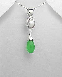 Pearl Faceted Green Chalcedony Teardrop Pendant
