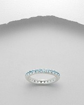 Round Blue Topaz Eternity Band Ring Sterling Silver 925 - £30.35 GBP