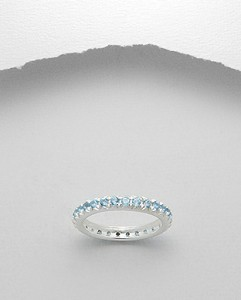 Round Blue Topaz Eternity Band Ring Sterling Silver 925