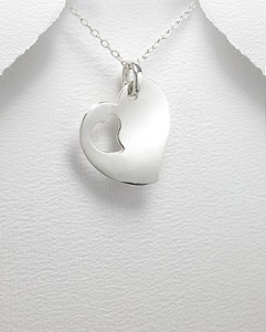 Sterling Silver Cut Out Heart Tag Necklace