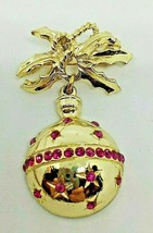 VINTAGE GOLDTONE CHRISTMAS BELL PIN W/PINK STONES - $14.00