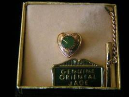 Vintage Genuine Jade Heart Shape Tie Tack - $5.99