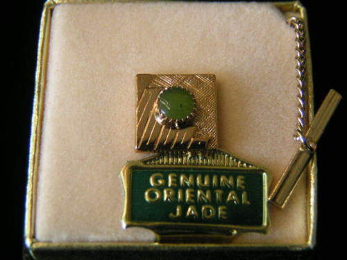 Primary image for Vintage genuine Jade Square Tie Tack #3