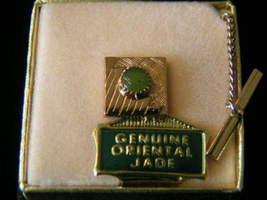 Vintage genuine Jade Square Tie Tack #3 - $5.99