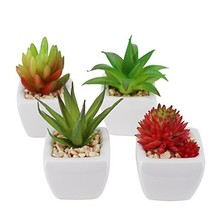 Greatflower Pack of 4 Small Cube-Shaped White Ceramic Planter Pots with ... - ₹1,400.67 INR