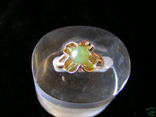 Primary image for Sterling Silver Flower Bead Jade Ring Gold Plated