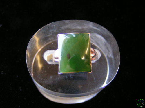 Primary image for Sterling Silver Square Stone Jade Ring Gold Plated
