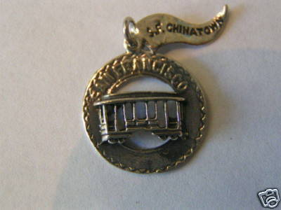 Primary image for Vintage Sterling Silver Cable Car on Disc Charm OX
