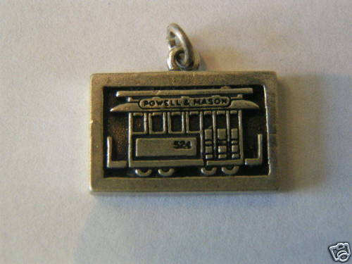 Primary image for Vintage Sterling Silver Cable Car on Plaque Charm