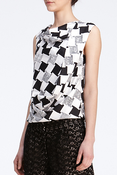 DIANE von FURSTENBERG LEALA CHECK WEAVE GREY TOP BLOUSE - US 10 - UK 14