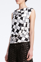 DIANE von FURSTENBERG LEALA CHECK WEAVE GREY TOP BLOUSE - US 10 - UK 14 - $89.26