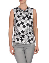 DIANE von FURSTENBERG LEALA CHECK WEAVE GREY TOP BLOUSE - US 10 - UK 14 image 2