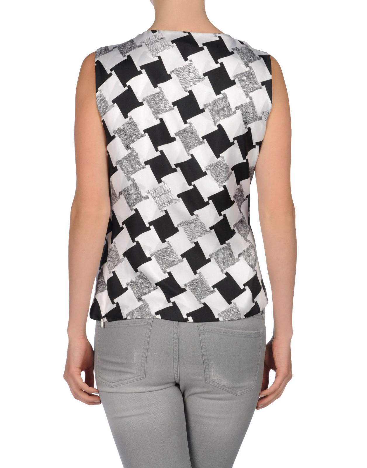 DIANE von FURSTENBERG LEALA CHECK WEAVE GREY TOP BLOUSE - US 10 - UK 14 image 3
