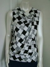 DIANE von FURSTENBERG LEALA CHECK WEAVE GREY TOP BLOUSE - US 10 - UK 14 image 4