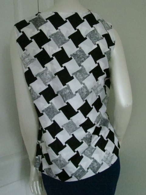 DIANE von FURSTENBERG LEALA CHECK WEAVE GREY TOP BLOUSE - US 10 - UK 14 image 5