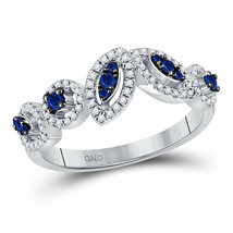 14kt White Gold Womens Round Blue Sapphire Band Ring 1/2 Cttw - £418.90 GBP