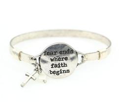 """""""Fear Ends Where Faith Begins"""" Handmade Beautiful Christian Bangle Brace... - $51.97"""