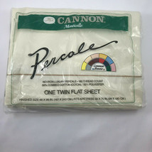 Vintage Cannon Monticello Percale Beige Cream One Twin Flat Sheet NOS G3 - $17.99