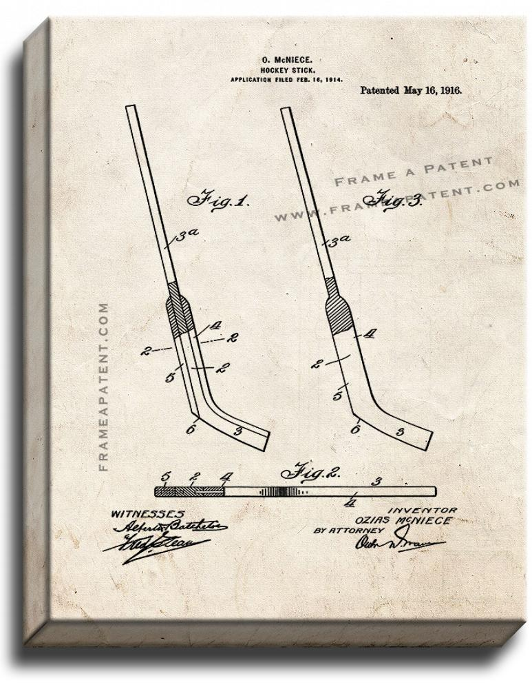 Primary image for Hockey stick Patent Print Old Look on Canvas