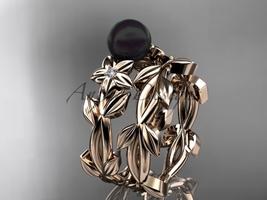 Tahitian Black Pearl Wedding Ring Sets 14kt rose Gold Flower Ring ABP424S - $1,145.00