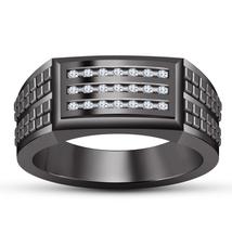 2.25ctw Diamond Mens Wedding Engagement Ring 14k Black Gold Finish 925 S... - $91.99