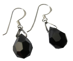 Czech Crystals Tear Drop Earrings Jet Crystal Silver French Earwires - $11.45
