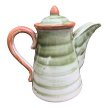 Mid Century John B Taylor Ceramic Pottery Green Swirl Water Tea Pitcher ... - $49.49