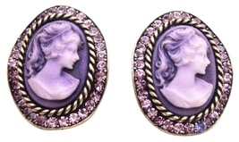 Amethyst Crystals Cameo Antique Purple Framed Cameo Portrait Earrings - $22.48