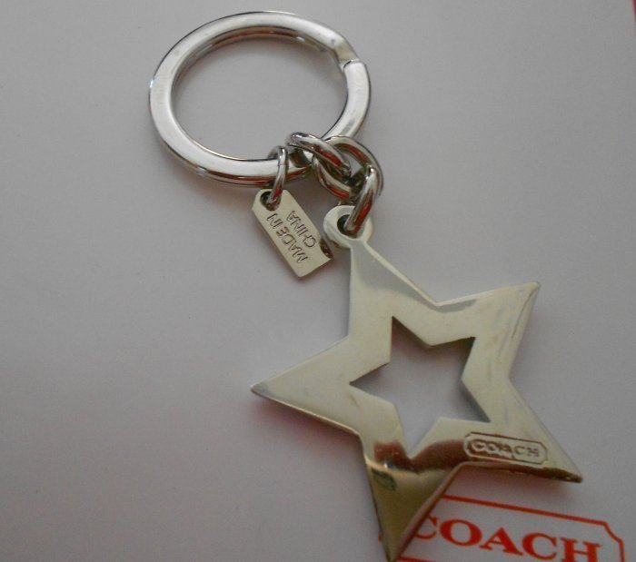 NEW~Coach~Pave Stone Star Blue Silver Key Ring Fob Charm 92662
