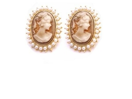 Gold Framed Cameo Portrait Earrings Surrounded w/ White Pearls - $18.58