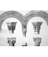 ITALY Verona St. Zenon Basilica Crypt Capitals Arches - SUPERB 1843 Print - $21.60