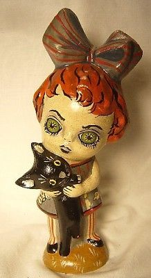 VAILLANCOURT FOLK ART GHOULY GIRL SIGNED BY JUDI!  HALLOWEEN