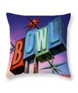 Retro Neon Bowling Sign, Throw Pillow, seat cushion, fine art, home deco... - $41.99 - $69.99