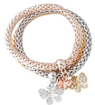 3 PCS Rope Owl Bangle Charm Rose Gold Silver Plated Butterfly Elephant Crystal B - $12.41