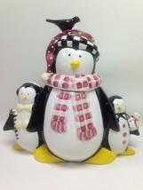 Sakura Debbie Mumm Penguins Ceramic Cookie Jar - $24.74
