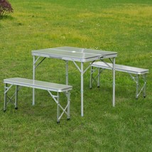 Portable Picnic Table Bench Set Outdoor Folding Garden Camping 3 pcs Alloy Set image 1