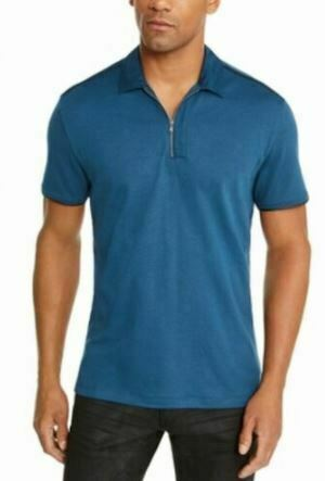 INC Men's Shirt Blue Size 2XL 1/2 Zip Polo Rugby Short Sleeve Solid