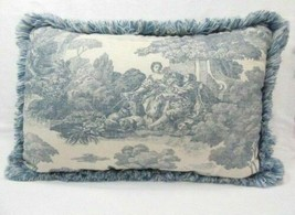 Waverly La Belle Champagne Toile Wedgewood Blue Fringed Decorative Pillow - $56.00