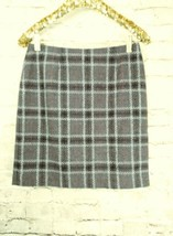 "women's Petite Sophisticate gray/white/red plaid skirt waist 30"" image 1"
