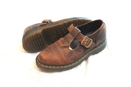 Dr Martens Gormy T-Strap Mary Janes Brown Leather Cap Toe Women's 9 US 7 UK - $44.55